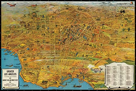 Antiguos Maps MAP of Greater Los Angeles : The Wonder City of America Circa 1932 - Measures 24