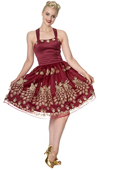 PDUK New Dancing Days Moonlight Escape Burgundy Red Gold Prom Dress UK8-16 By Banned