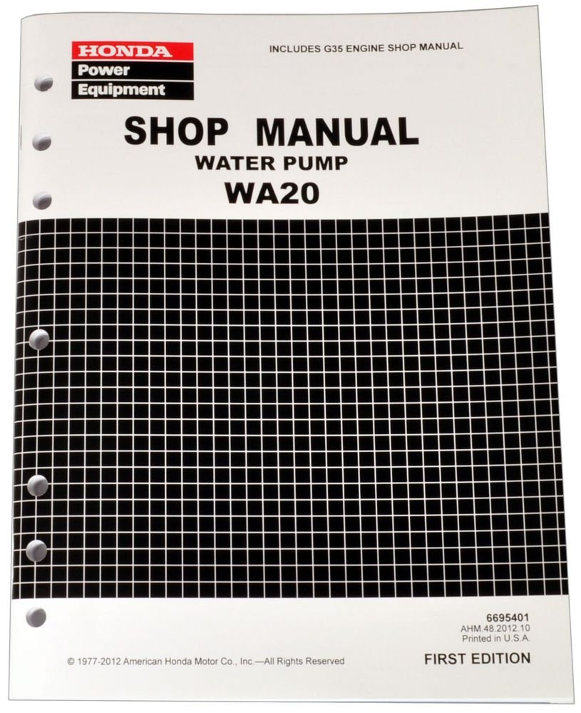 Honda WA20 Water Pump Service Repair Shop Manual