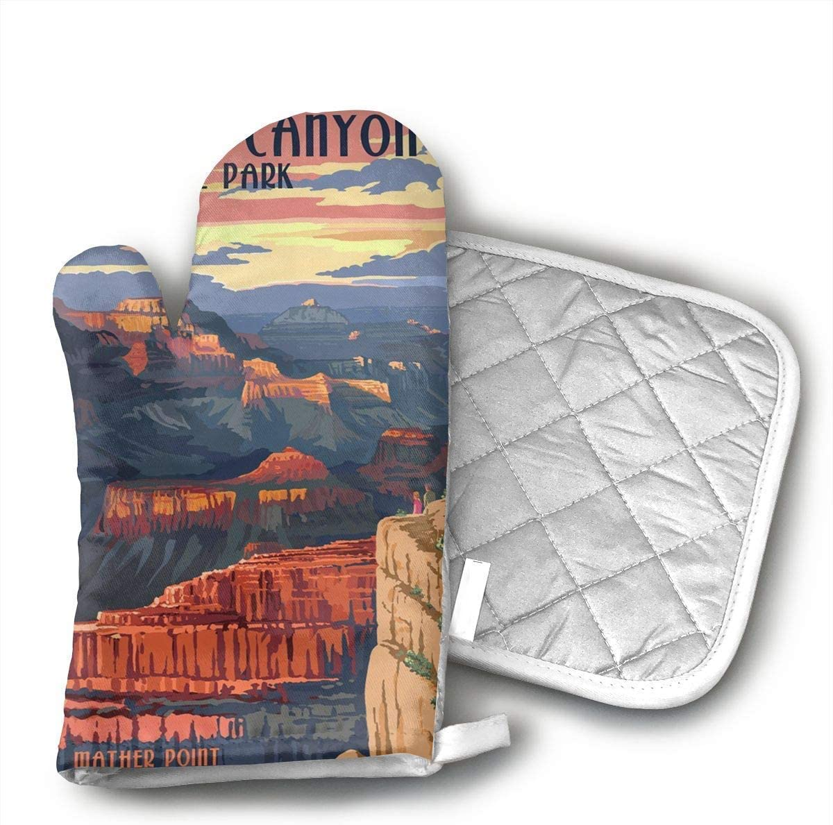 Grand Canyon National Park Oven Mitts and Pot Holders Set with Polyester Cotton Non-Slip Grip, Heat Resistant, Oven Gloves for BBQ Cooking Baking, Grilling
