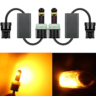 Alla Lighting Newest Version 7443 7440 LED Signal Lights Bulbs 2600 Lumens 21W CREE Extremely Super Bright Amber Yellow 7441 W21W 7440NA 7444NA LED Bulbs for Turn Signal Blinker Lights Replacement: Automotive