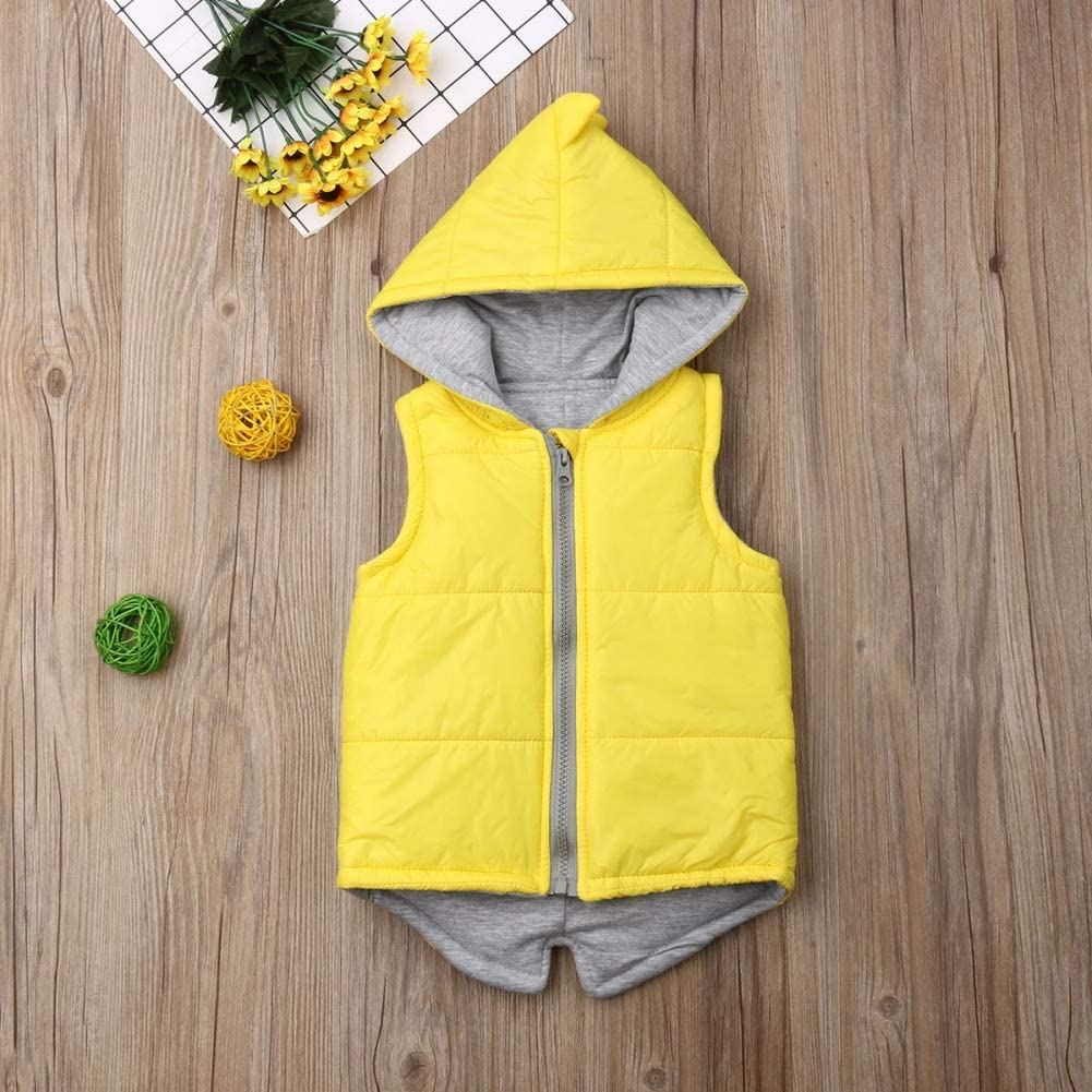 Timall Baby Girls Boys Dinosaur Floral Print Waistcoat Toddler Winter Cotton Vest Jacket Coat 0-7Years
