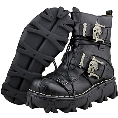Amazon Com Mens Black Genuine Leather Military Army Boots Gothic