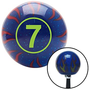 Green Ball #7 American Shifter 244556 Blue Flame Metal Flake Shift Knob with M16 x 1.5 Insert