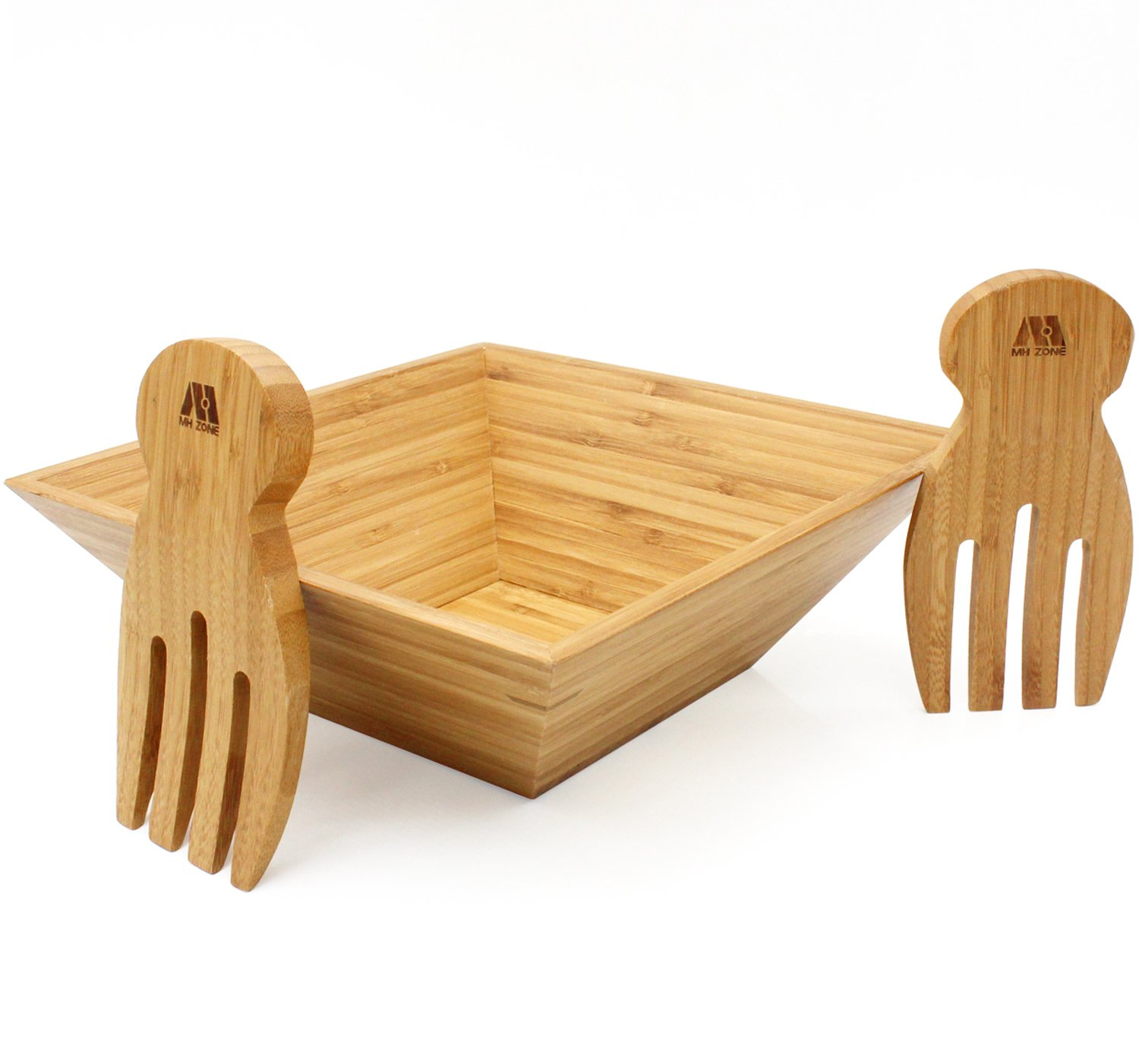 MH ZONE Bamboo Salad Bowl Set with Serving Hands, includes large square bowl and matching salad servers, perfect size for serving 4-6 salad portions