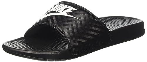 babe1436d8ac Nike Women s Benassi Just Do It Sandal Black White 5 Regular US