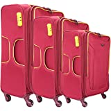 """Texas USA - Exclusive Range of Imported Soft Luggage Trolley Bag - Set of 3 (20""""+24""""+28"""")- Maroon - Cabin Cum - Check-in Baggage"""