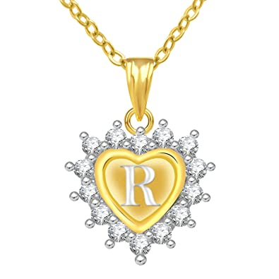 buy jewelscart gold plated ad letter r alphabet heart shape love