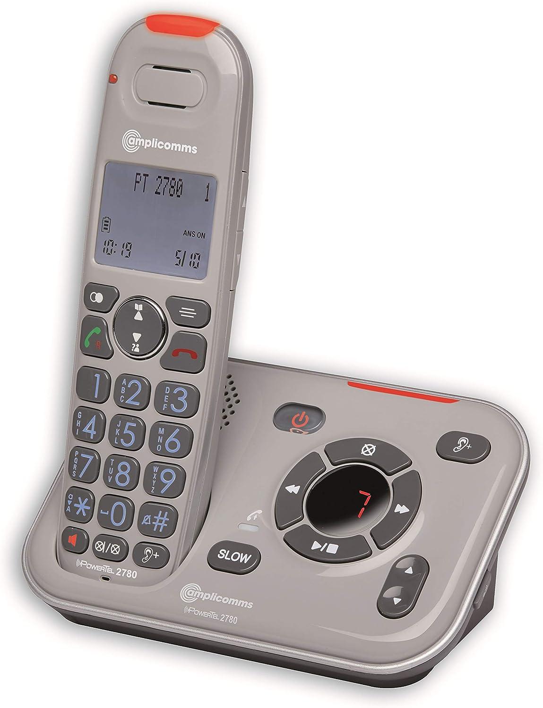 Amplicomms PowerTel 2780 - Teléfono inalámbrico Amplificado con contestador Digital: Amazon.es: Electrónica