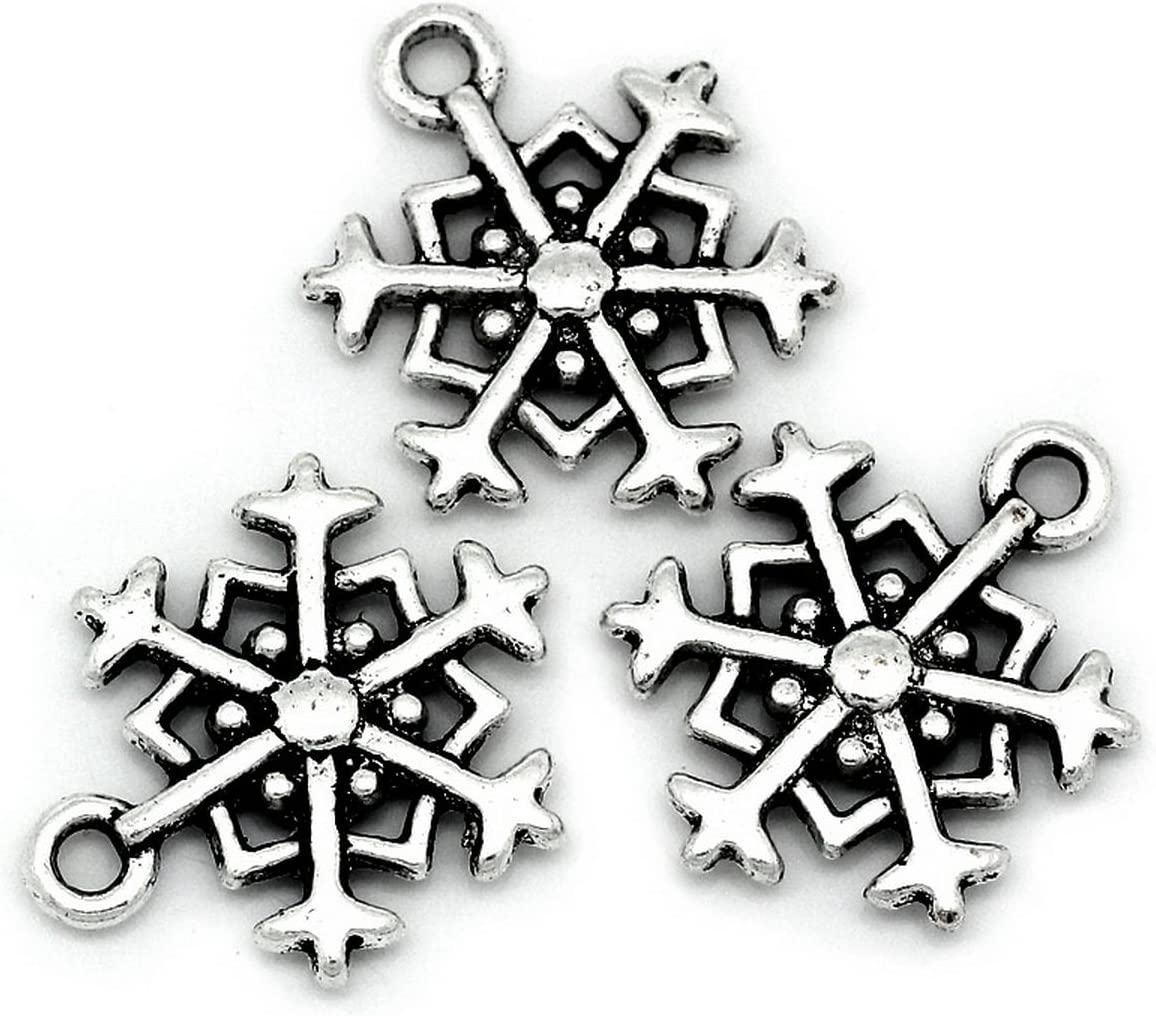 GraceAngie 30pcs Antiqued Silver Alloy Mixed Tibetan Silver Various Snowflake Charm Beads Winter Xmas Finding