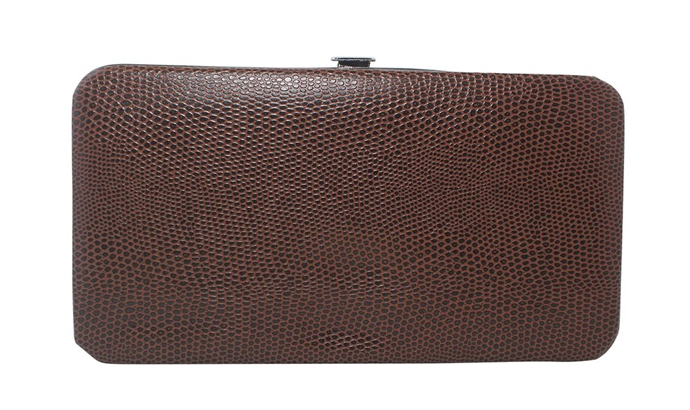 Chicastic Brown Small Glossy Snakeskin Flat Hard Clutch Wallet