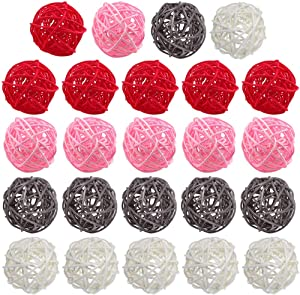 DomeStar Rattan Ball, 24PCS 2 Inch Wicker Ball Decorative Ball Orbs Vase Bowl Fillers