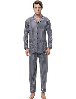 Aibrou Mens Silk Satin Pajama Set Luxury Sleepwear Long Sleeve Boxer Pajamas  Set 51d49438f