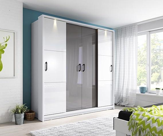 Marca nilight dormitorio espejo 4 puerta corredera armario Arti 13 en Color blanco brillante/Gris Brillante 220 cm se vende por Arthauss: Amazon.es: Hogar