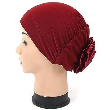 52caaf8b593 Kingko® Women s Casual Soild Colour Muslim Stretch Turban Hat Chemo Cap  Hair Loss Head Scarf