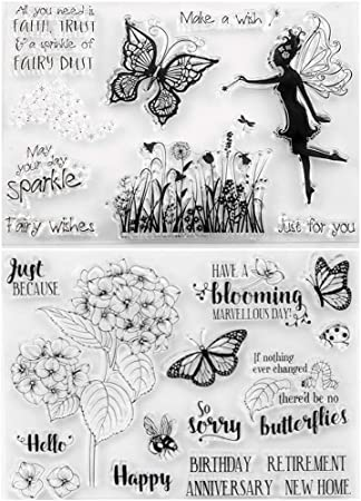Tikkii 4-Pack Fairy Clear Stamps for Card Making and Scrapbooking