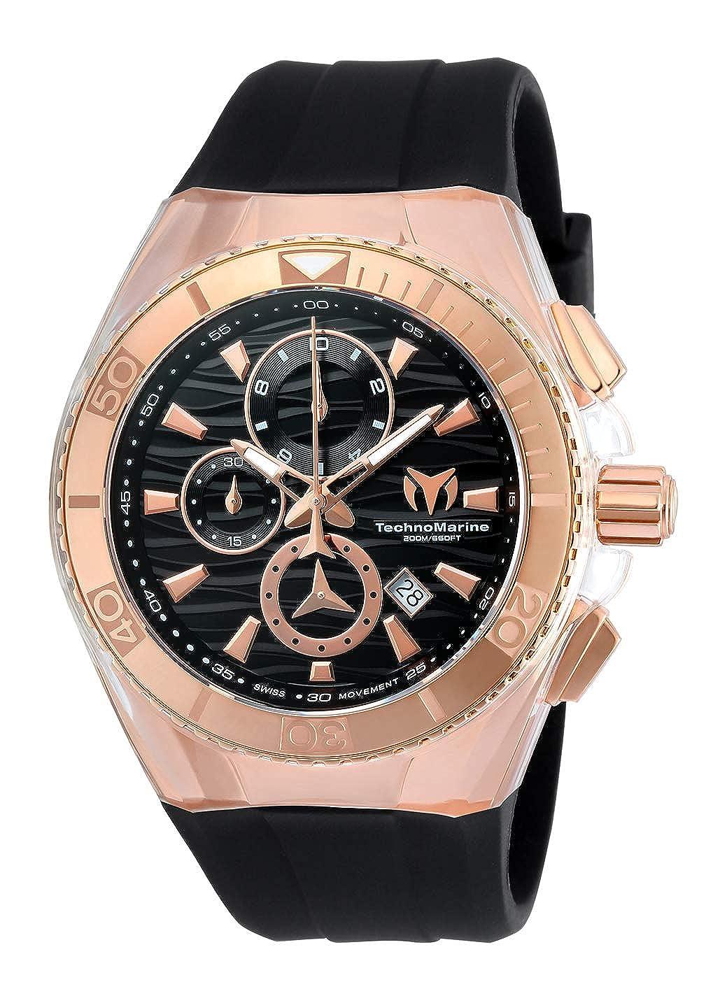 Technomarine Men s Cruise Star Stainless Steel Quartz Watch with Silicone Strap, Black, 29 Model TM-115048