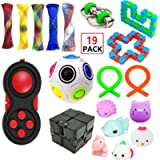 EDsports 19 Pack Sensory Fidget Toys Set-Bike Chain,Marble Fidget Toys,Rainbow Magic Sensory Balls,Squeeze-a-Bean…