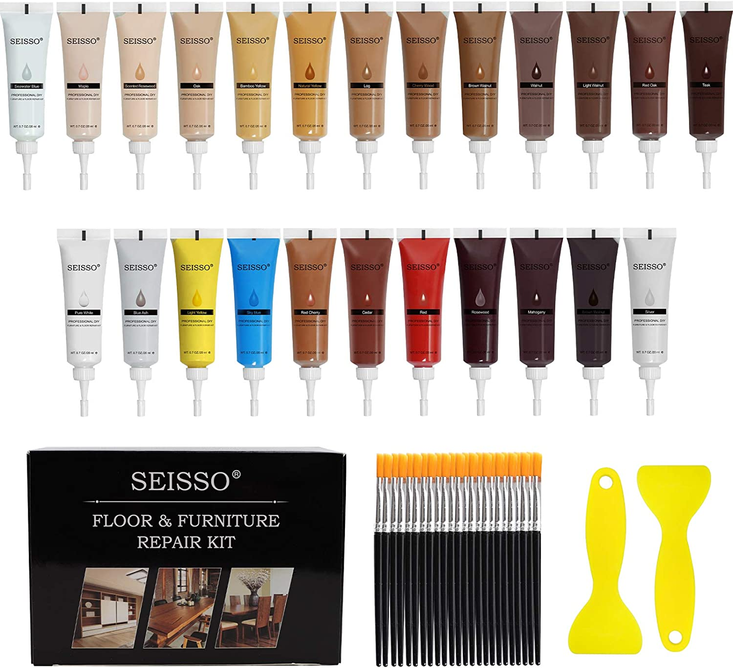 Wood Repair Kit Wood Filler Furniture Scratch Resin Repair Kit - Set of 50 with Brushes Plastic Scraper Any Color for Stains, Scratches, Tables, Desks, WoodenFloors, Carpenters, 24 Colors