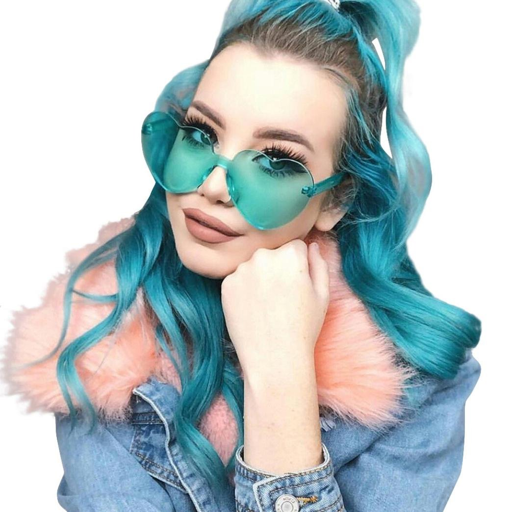 Sumen Women Teen Girls Fashion Heart-Shaped Shades Sunglasses Candy Color Glasses (F)