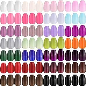 624 Pieces 26 Colors Short Coffin Press on Nails Colorful Ballerina False Nails Square Glossy Fake Nails Solid Color Full Cover Fake Nails Nail Art Kits for Nail Art Salon DIY Decor (Various Colors)