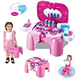 deAO Dressing Vanity Table Playset with Mirror and Hairdryer - Handy 2in1 Carrycase and Stool includes Pretend Makeup and Jewellery