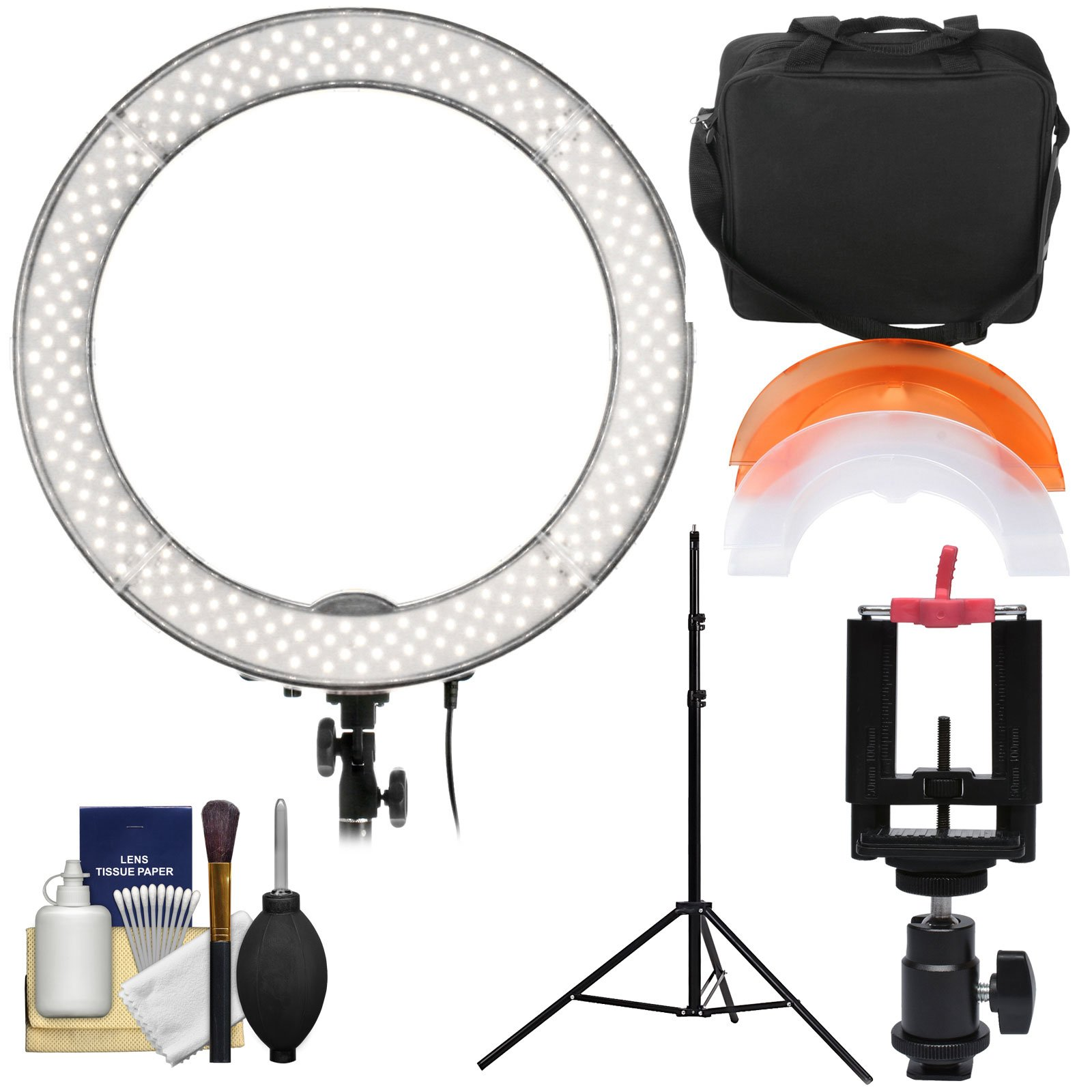 Smith-Victor 19'' LED Ring Light & Case with Smartphone Mounting Adapter & Ball Head + Light Stand + Kit by Smith-Victor (Image #1)