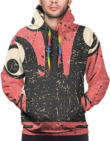 Harry wang Sudadera con Capucha para Hombre Monstruo Negro Divertido con Formas de Grunge sobre Fondo Rosa. Camisa de Entrenamiento: Amazon.es: Ropa y accesorios