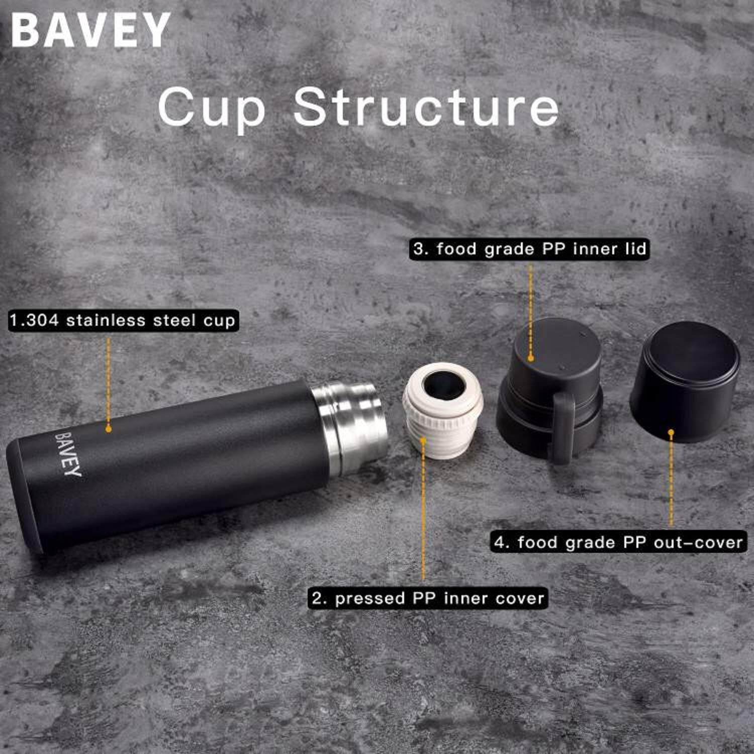 Bavey Insulated Water Bottle Portable Stainless Steel Coffee Travel Mug for Food Stainless Wide Mouth 600ml//21 OZ Double Wall Hot /& Cold Beverage Leak /& Sweat Proof
