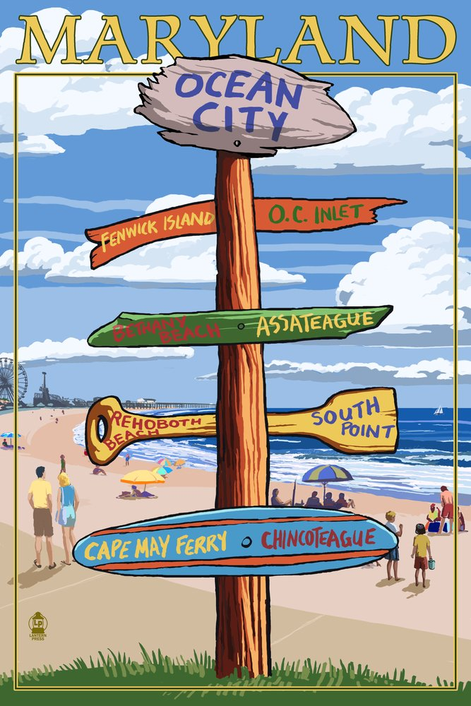 Ocean City, Maryland - Sign Destinations (24x36 Giclee Gallery Print, Wall Decor Travel Poster) by Lantern Press