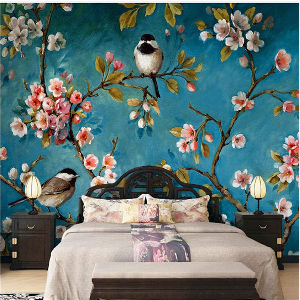 Guyuell Chinesische Blumen-Tapeten Des Foto-Tapeten-3D Chinesische Wand-Schlafzimmer-Wohnzimmer-Neues Design-Beschaffenheitstapete Papel De Parede Floral 3D-200Cmx140Cm