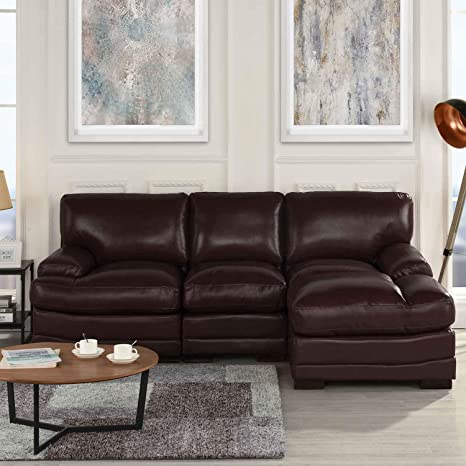 Brown Leather Sectional Sofa Couch with Chaise, Modern Brown L-Shape Wide  Chaise Top Grain Leather Sectional Couch Sofa, Lounger Home Furniture ...