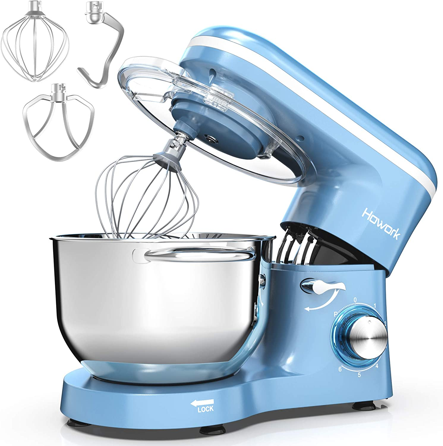 HOWORK Stand Mixer, 660W Electric Kitchen Food Mixer With 6.55 Quart Stainless Steel Bowl, 6-Speed Control Dough Mixer With Dough Hook, Whisk, Beater (6.55 QT, Blue)