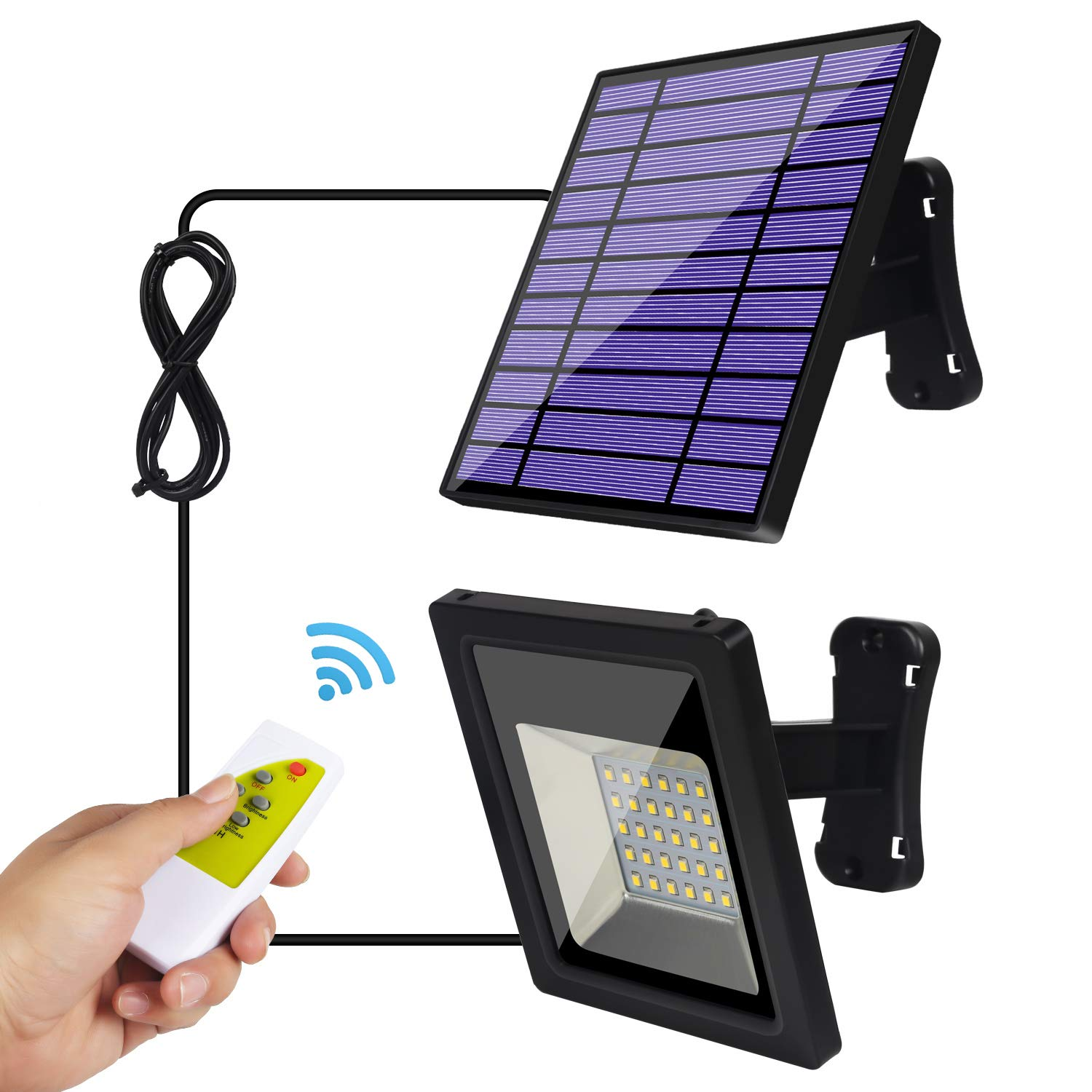 Solar Lights Outdoor IP65 Waterproof Solar Flood Lights 30 LED Spotlight Remote Control 9.2Ft Cord Easy-to-Install Security Lights with Adjustable Solar Panel for Front Door Yard Deck Garage