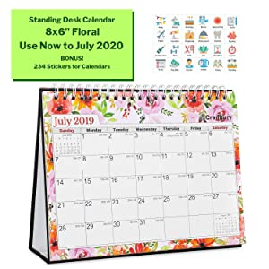 Desk School Year Calendar 2019-2020 (8x6, Floral) Gorgeous Monthly Designs, Use Small Desktop Calendar Now to July 2020, Premium Paper, Double-Sided, Beautiful Tent Standing Easel Table Calendar
