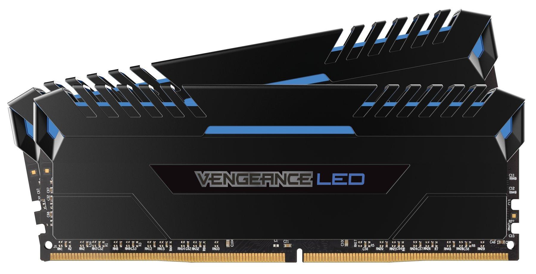 Corsair Vengeance LED 16GB (2x8GB) DDR4 3000 (PC4-24000) C15 for DDR4 Systems - Blue LED PC Memory (CMU16GX4M2C3000C15B)
