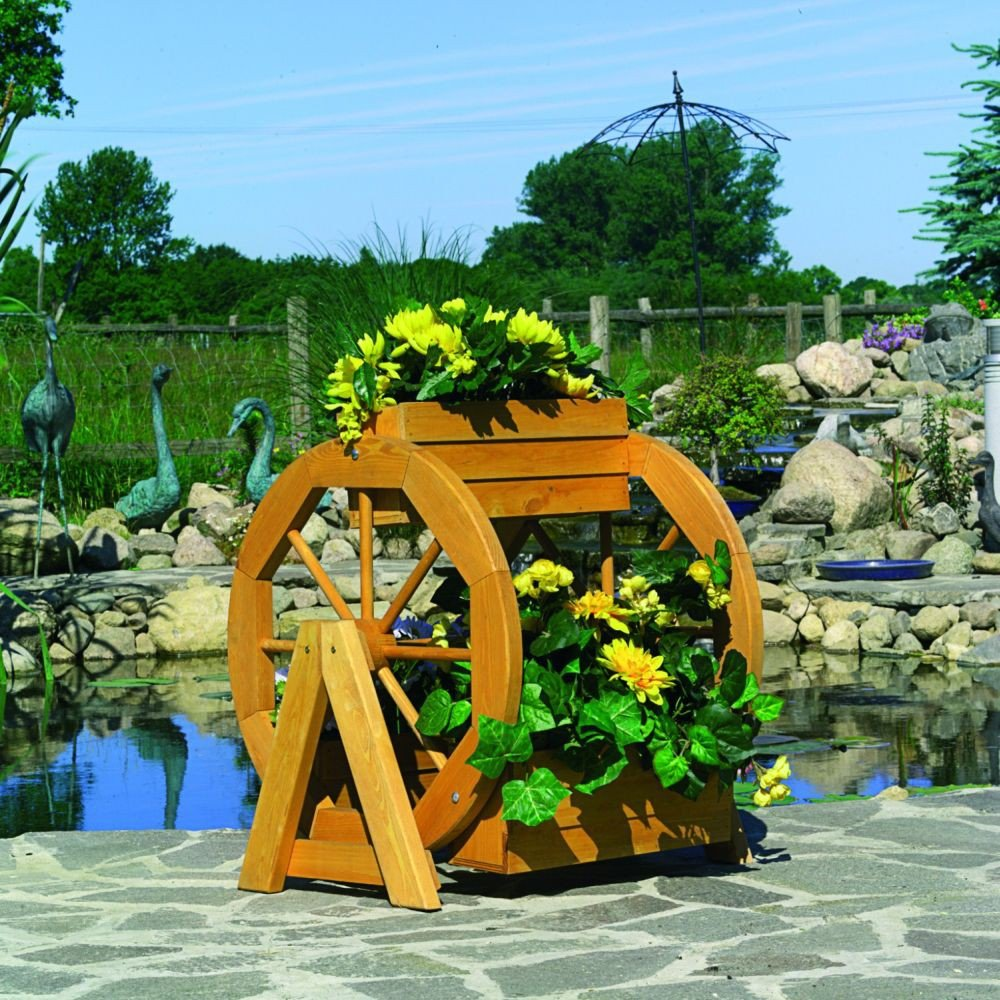Blumenrad Blumendeko imprägniertes Kiefernholz Gartendekoration