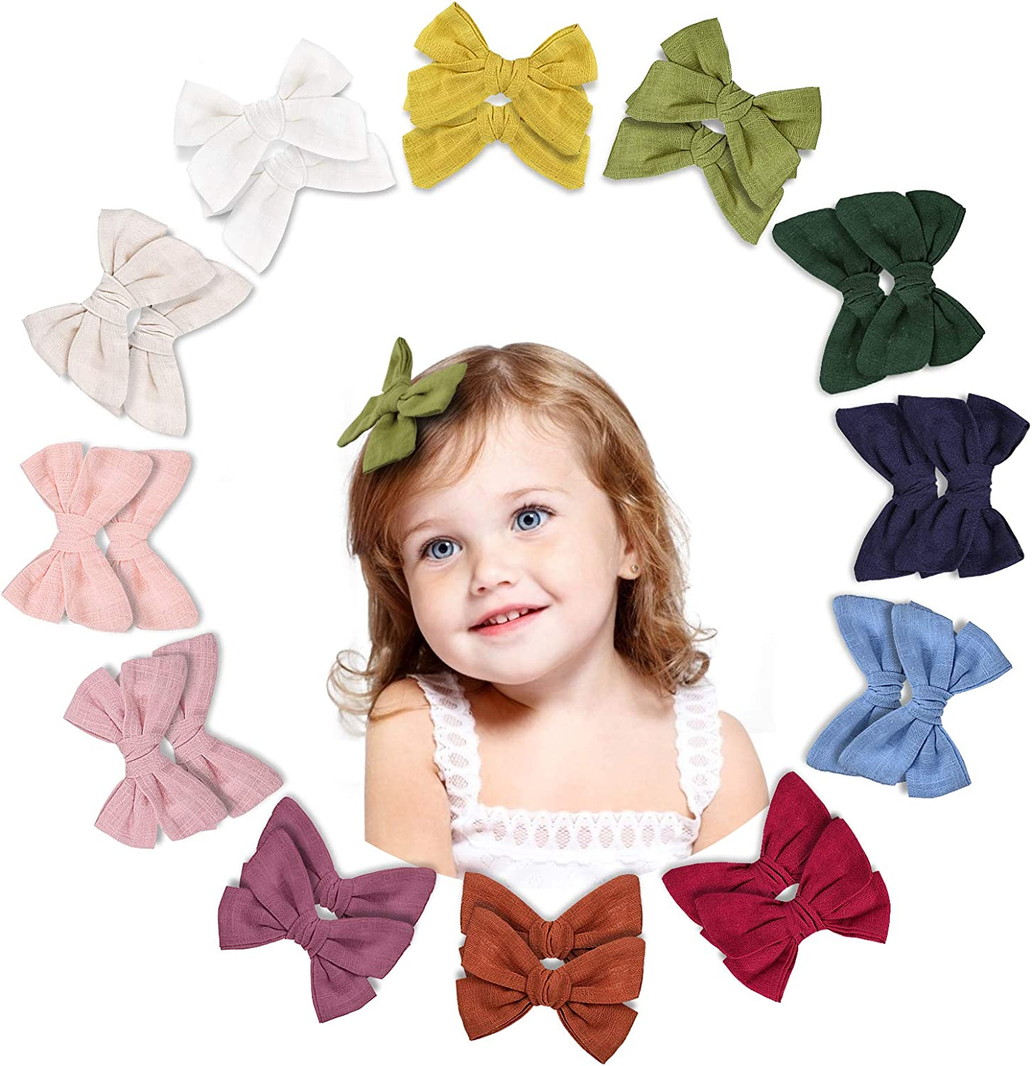 Makone 24pcs Hair Bows Clip Toddler Bows Baby Girl Hair...