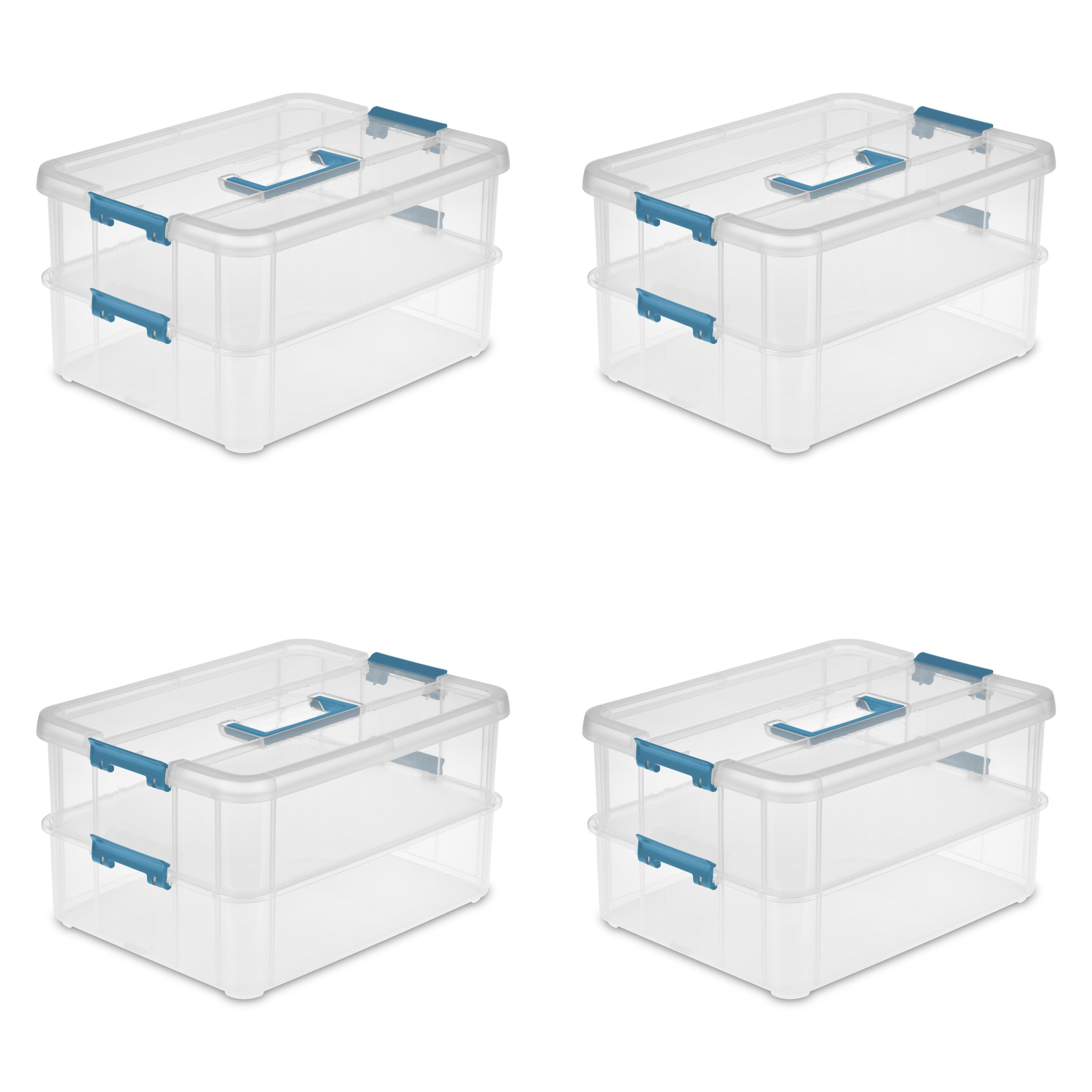 Sterilite 14228604 Stack & Carry 2 Layer Handle Box, Clear Base with Colored Handle and Latches, 4-Pack by STERILITE