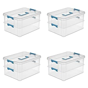 Sterilite 14228604 Stack & Carry 2 Layer Handle Box, Clear Base with Colored Handle and Latches, 4-Pack