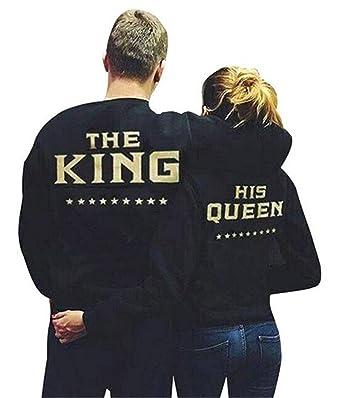 Minetom Couple Sweatshirt Pullover Femme Homme Col Rond Manches Longues  Imprimé Lettre De King Queen Tops 67f4a98dd39f
