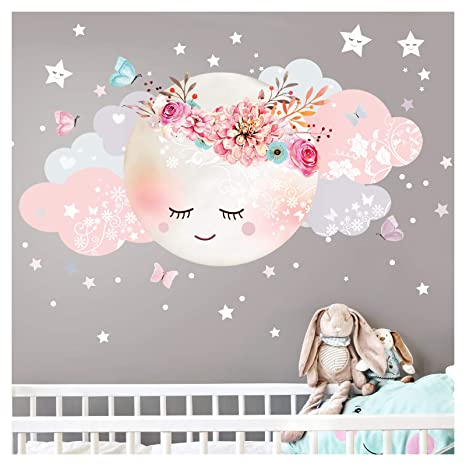 Little Deco Wandsticker Kinderzimmer Mädchen Mond & Wolken I XL - 127 x 63  cm (BxH) I Wandtattoo Babyzimmer selbstklebend Wandaufkleber Sterne Blumen  ...