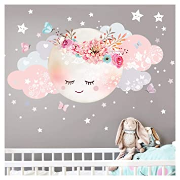 Little Deco Wandsticker Kinderzimmer Mädchen Mond & Wolken IM - 51 x 26 cm  (BxH) I Wandtattoo Wandaufkleber Baby Deko Zimmer DL243