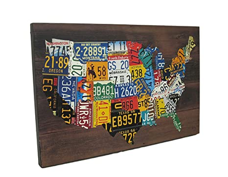 Amazon.com: Zeckos USA License Plates Map Print Wood Wall ... on using map of missouri license plates, united states map printable pdf, united states license plate game, 50 states license plates, united states map with scale, us map made of license plates, united states license plate designs, united states map art, united states licence plates, united states license plates 2014, united states map printout, furniture made from license plates,