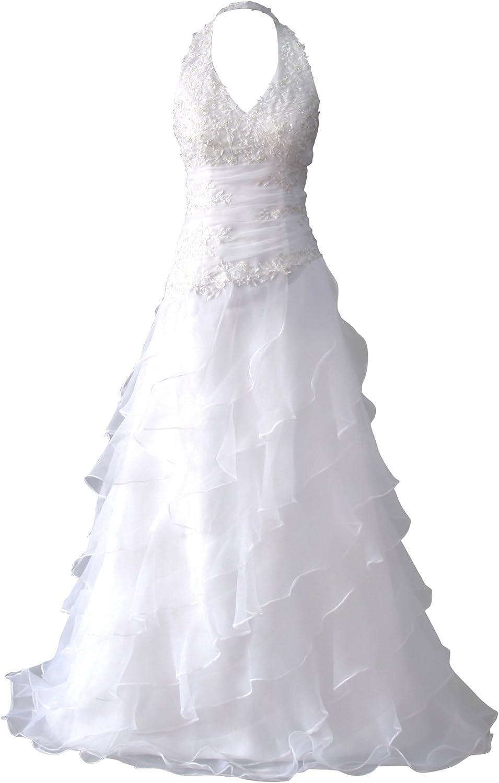 Romantic-Fashion Brautkleid Hochzeitskleid Weiß Modell W13 A-Linie Lang  Satin Stickerei Perlen Pailletten DE