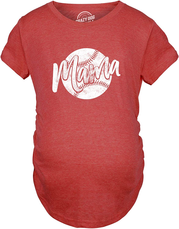 Maternity Baseball Mama Tshirt Cute Summer Sports Tee for Mom to Be