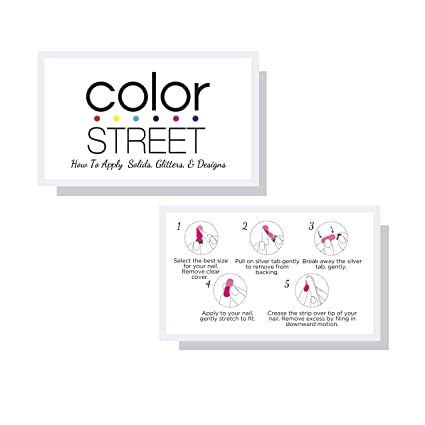 Color Street How To Apply Solid Glitter Designs White Nail Polish Strip Application Instruction Cards 50 Pk 3 5 X 2 Inches Size