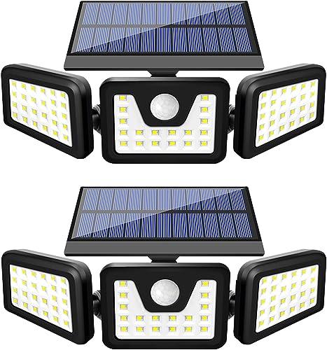 HARMONIC Solar Lights Outdoor, 3 Adjustable Heads 70 LED Solar Motion Sensor Lights Outdoor, IP65 Waterproof Security Lights Motion Outdoor Flood Lights for Front Door,Yard,Garage and Pathway 2 Pack