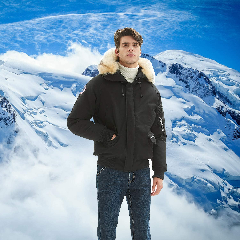 Winter Fashion Hooded Classic Down Alternative Flight Windbreaker Jacket PUREMSX Mens Bomber Jacket
