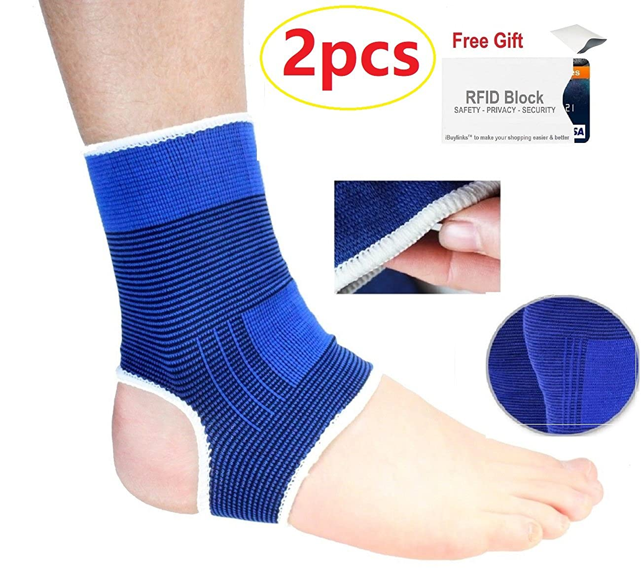 Top1 Ankle Brace Elastic Muscle Support Compression Sleeve (1 Pair) + Extra 1 PC LXF